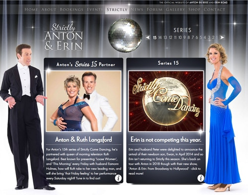 Anton and Ruth's Dancecard - Strictly 2017