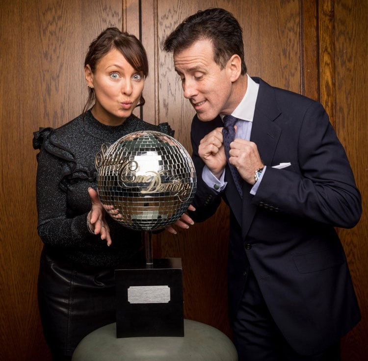 Anton and Emma with the Strictly 2019 Glitterball Trophy