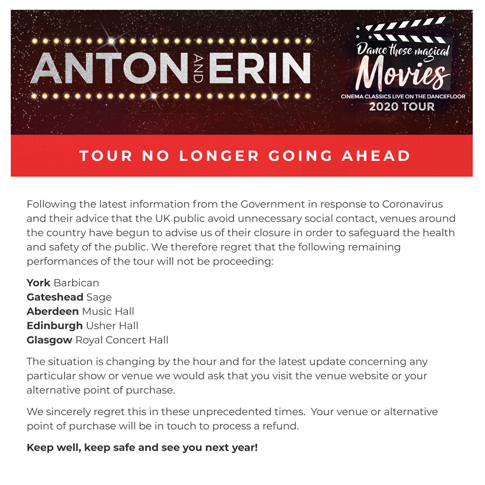 Anton and Erin Tour dates cancelled due to Coronavirus
